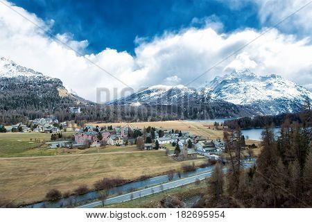 The Village Of Sils Maria In The Engadine Valley Near Sankt Moritz In Switzerland