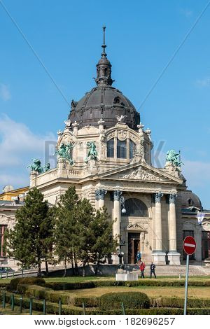 Budapest, Hungary - March 11, 2017: Facade of Szechenyi thermal baths and spa building. This is the largest medicinal bath in Europe since 1913