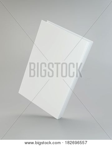 White realistic book on gray background. 3d rendering.