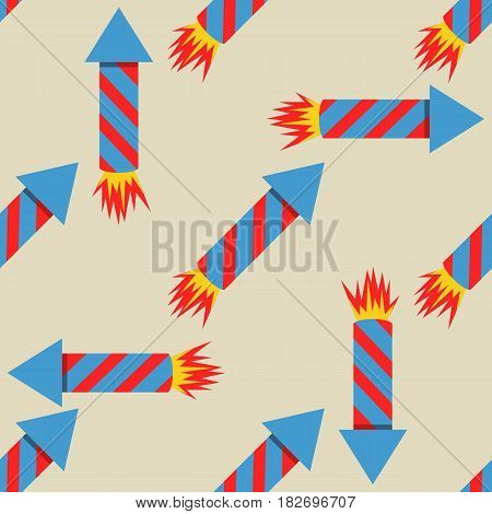 Fireworks rocket seamless pattern vector illustration in flat style. Red skyrocket symbol festival.