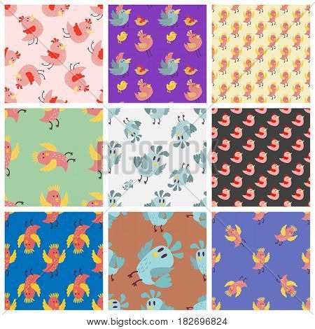 Cute bird vector happy drawing decoration set. Cartoon bird with funny little cute bird family seamless pattern. Vector character wing colorful cute birds wild sweet animals background,