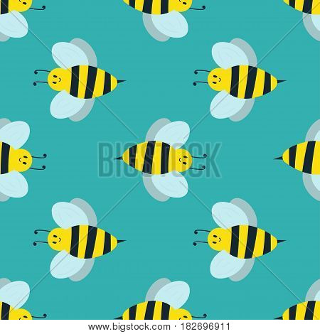 Cartoon and sweet yellow bee. Summer worker bug with antenna. European western honey nature wing fly insect flat vector. Summer wildlife environment animal.