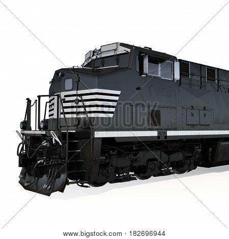 Locomotive on white background. Close view. 3D illustration