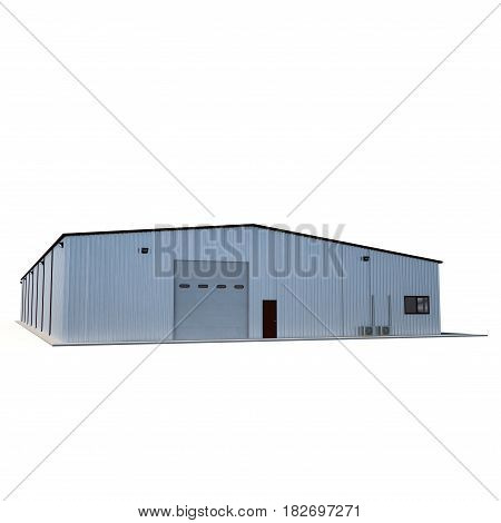 Small warehouse building on white background. 3D illustration