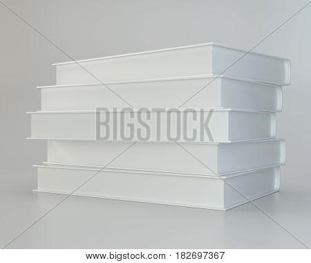 white books on gray background. 3d rendering.