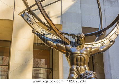 New York USA november 2016: Atlas is a bronze statue in front of Rockefeller Center in midtown Manhattan New York City. The sculpture depicts the Ancient Greek Titan Atlas holding the heavens.
