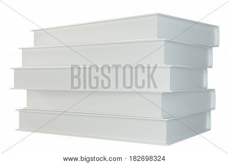 white stack of books isolated on white background. 3d rendering.