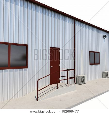 Warehouse building door on white background. 3D illustration
