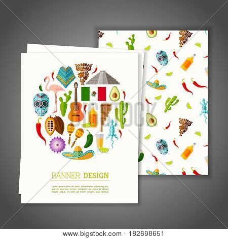 Cards national vector photo free trial bigstock cards with national symbols of mexico greeting or invitation vector card on mexican theme stopboris Image collections