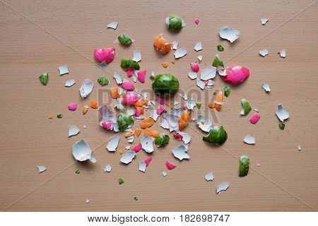 colorful crushed easter egg shells on table