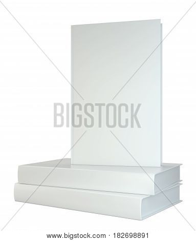 Stack realistic of books isolated on white background. 3d rendering.