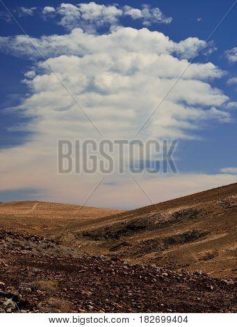 Peculiar cloud, landscape of Fuerteventura, Canary islands