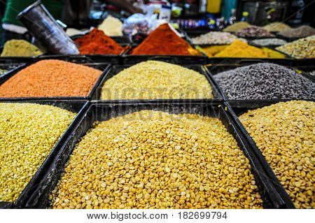 Lentil spices beans grains in a store in India.