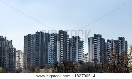 New modern unfinished houses in the city