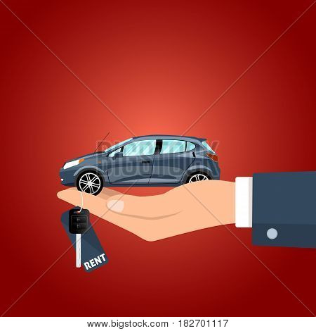 Hand holding the car key for rent and the figurine vector illustration.