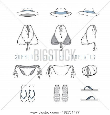 Vector illustration of female beach clothing set - bikini swimwear, panama hat, footwear. Front, back, side views of blank wear templates. Isolated on white background.