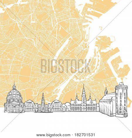 Copenhagen Denmark Skyline Map
