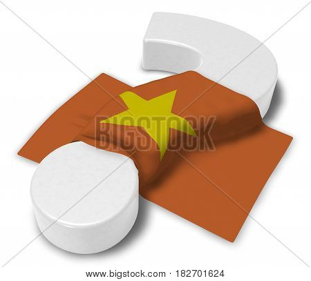 question mark and flag of vietnam - 3d illustration