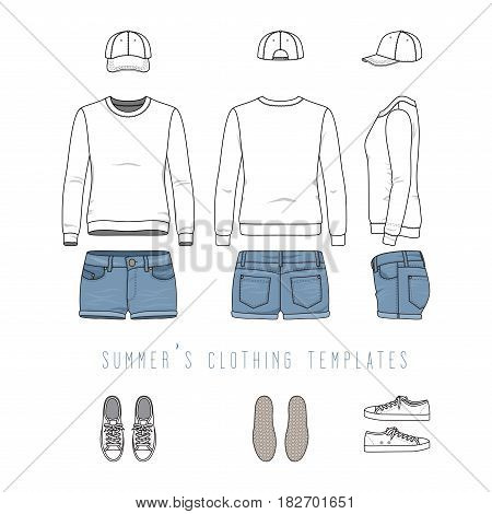 Vector illustration of female clothing set. White sweatshirt, denim shorts, baseball cap, sneakers. Blank vector clothing templates for fashion design in modern urban or hipsters style.