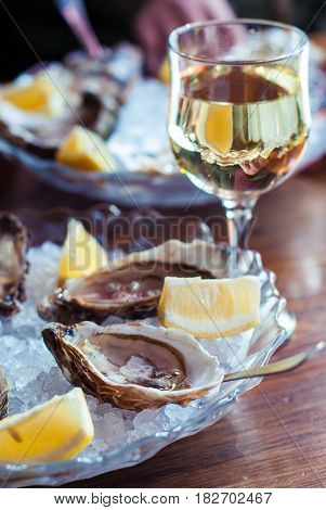 Oysters and wine. Oysters with lemon on ice and white wine. Seafood and white wine with ice. Ukrainian oysters and homemade wine.