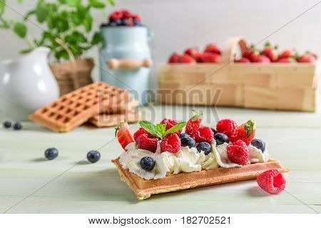 Waffle With Whipped Cream, Berry Fruit And Whipped Cream