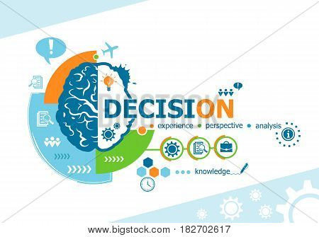 Decision Concept Related Words And Brain Concept. Infographic Business.