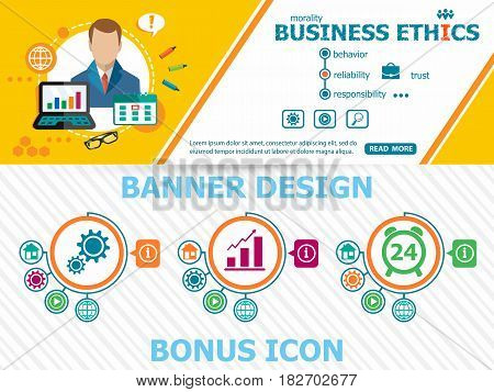 Business Ethics And Abstract Cover Header Background For Website Design.