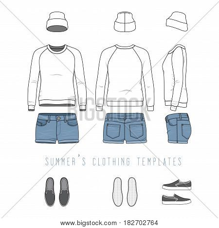 Vector illustration of female clothing set. White raglan sweatshirt, denim shorts, hat, plimsolls. Blank vector clothing templates for fashion design in urban, hipsters style. Isolated on white.