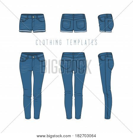 Female clothing set of blue jeans and denim shorts. Vector templates in front, back, side views for fashion design in urban style. Isolated on white background.