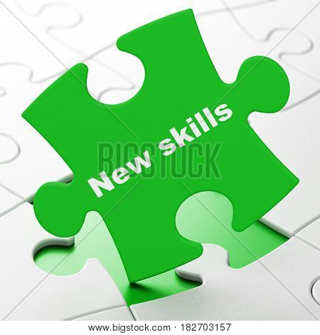 Learning concept: New Skills on Green puzzle pieces background, 3D rendering