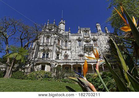 Sintra, Portugal, April 7, 2017 : Quinta Da Regaleira Palace. The Property Consists Of A Romantic Pa