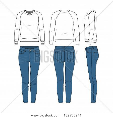 Vector illustration of female clothing set. White basic raglan sweatshirt, jeans. Blank vector clothing templates for fashion design in modern urban or hipsters style. Isolated on white background.