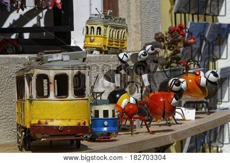 Sintra, Portugal, April 7, 2017 : Traditional Tramway Toy For Sale. The Tramway Network Serves The C
