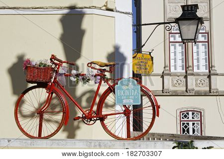 Sintra, Portugal, April 7, 2017 : Bike For Rent Near The Municipal Building Of Sintra. The City Is K