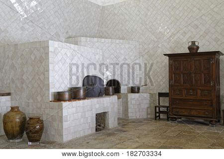 Sintra, Portugal, April 7, 2017 : Kitchen Of Palace Of Sintra, For A Long Time The Residence Of Roya