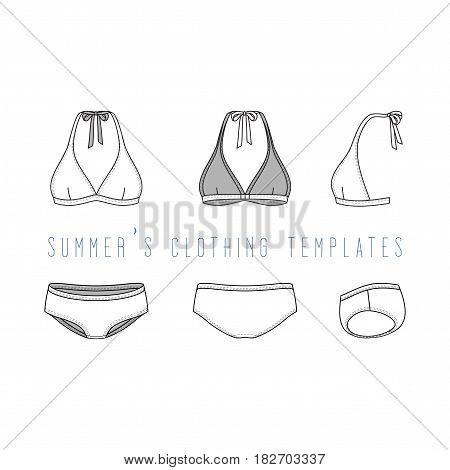 Vector illustration of female beach clothing set. Blank vector templates of swimwear in front, back, side views. Fashion design in hipsters style. Isolated on white background.