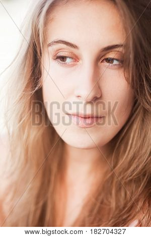 Portrait of pretty beautiful woman, morning time