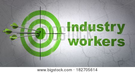 Success Manufacuring concept: arrows hitting the center of target, Green Industry Workers on wall background, 3D rendering
