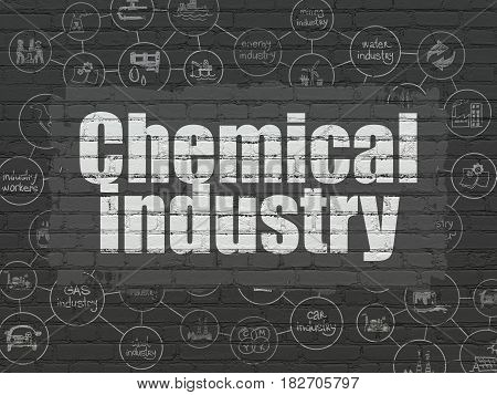 Industry concept: Painted white text Chemical Industry on Black Brick wall background with Scheme Of Hand Drawn Industry Icons