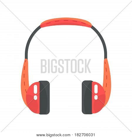 Orange wireless headphones. Colorful cartoon vector Illustration isolated on a white background