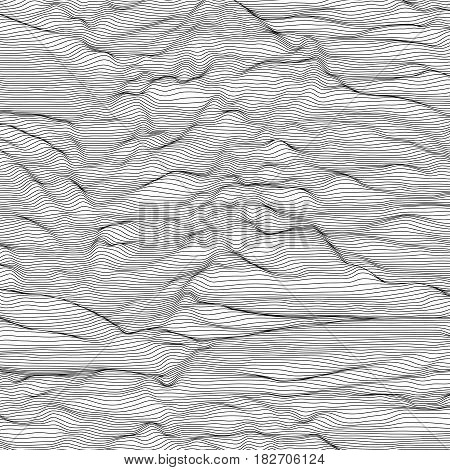 Vector striped grayscale background. Abstract line waves. Sound wave oscillation. Funky curled lines. Elegant wavy texture. Surface distortion. Black and white.