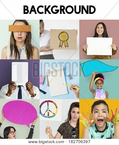Diverse People Hold Blank Speech Bubble Copy Space Studio Portrait Collage