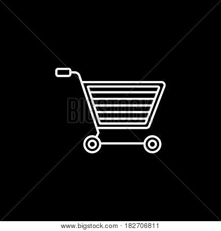 E-commerce line icon, seo and development, shopping cart sign, a linear pattern on a black background, eps 10.