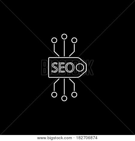 Seo tag line icon, seo and development, marketing sign, a linear pattern on a black background, eps 10.
