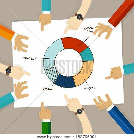 doughnut circle chart hand drawing sketch analysis. team member together working discuss in a meeting hands pointing to paper vector