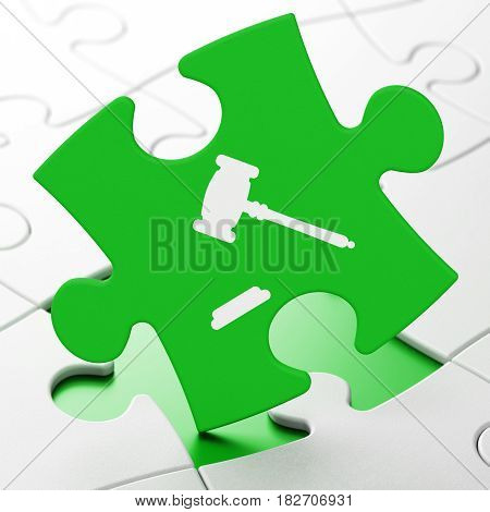 Law concept: Gavel on Green puzzle pieces background, 3D rendering