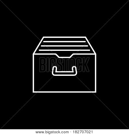 Archive storage line icon, seo and development, file storage sign, a linear pattern on a black background, eps 10.