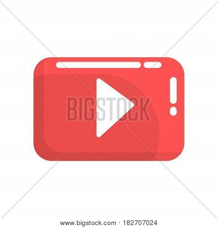 Red video play button. Internet or youtube button. Colorful cartoon vector Illustration isolated on a white background