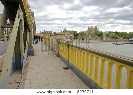 ROCHESTER, UK - APRIL 14, 2017: View of the Castle from Rochester bridge
