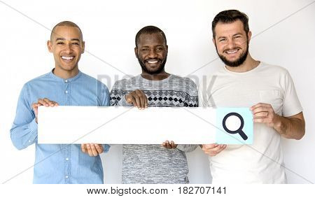Diversity Men Friendship Hands Hold Search Box Magnifying Glass